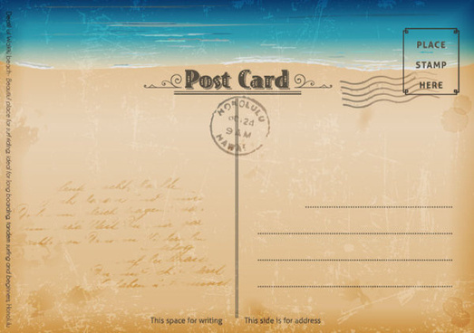 vintage sea elements post card vector