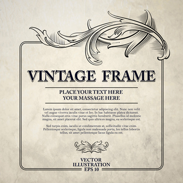 vintage sketch decor frame design vector