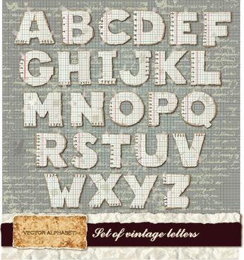 vintage spelling alphabet vector