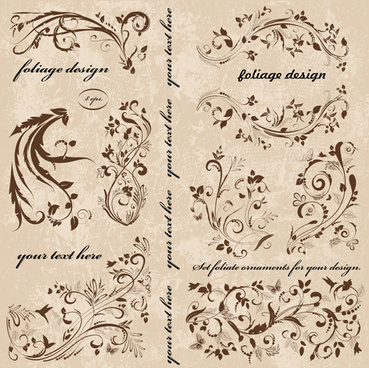 vintage spring floral ornaments elements vector