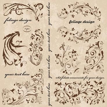 vintage spring floral ornaments elements vector