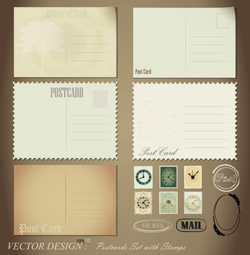 vintage stationery stamp and envelope free vector 1