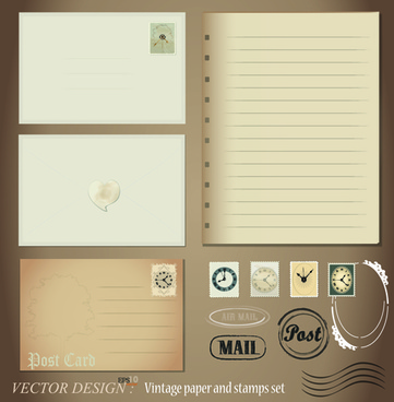 vintage stationery stamp and envelope free vector 2