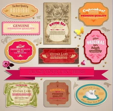 vintage stickers and labels set