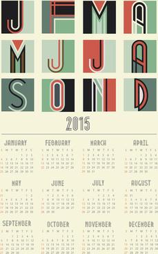 vintage style15 calendar vector