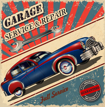 vintage style car advertising poster vector