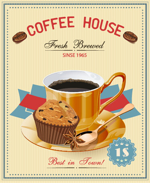 vintage style coffee house poster vector