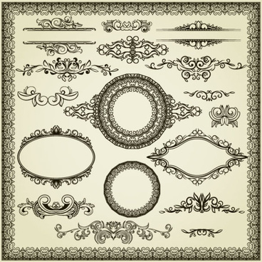 vintage style frames and borders vector set