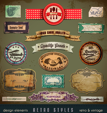 vintage style garbage label design elements vector