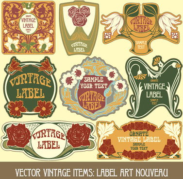 vintage style label with flowers vector graphic