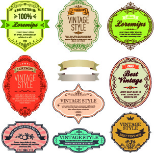 vintage style labels vector set
