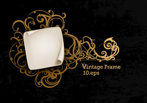vintage style luxury frame vector set