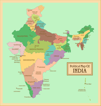 India physical map in a4 size.