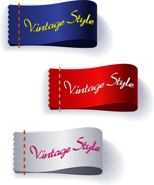vintage style ribbons set illustration with multicolors