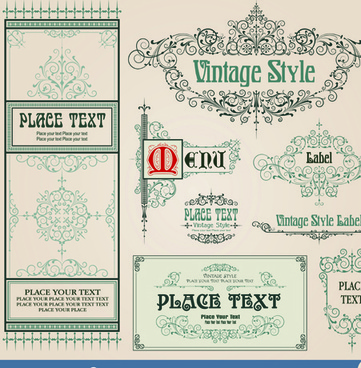 vintage style vector of frame border and ornament set