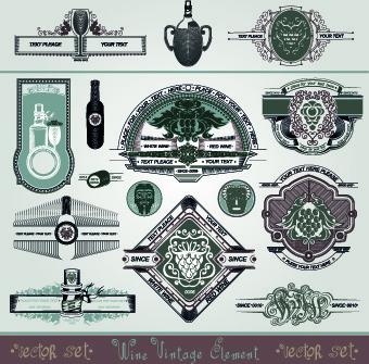 vintage style wine design element vector