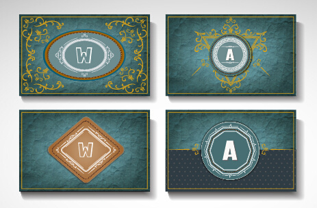 vintage styles cards ornate vector