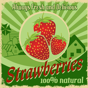 vintage styles strawberries poster vector