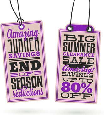 vintage summer discount sale tags vector