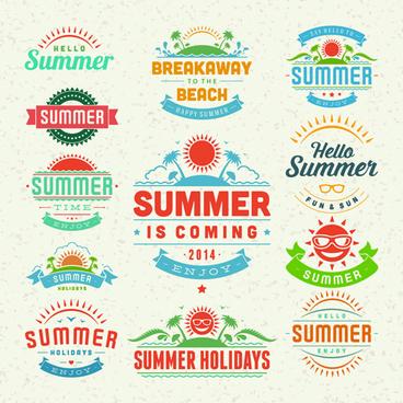 vintage summer elements labels vector