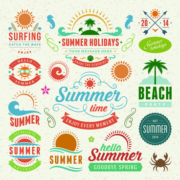 vintage summer elements labels vector