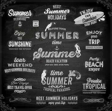 vintage summer logos with ornaments design vector