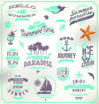 vintage summer vacation travel logos vector