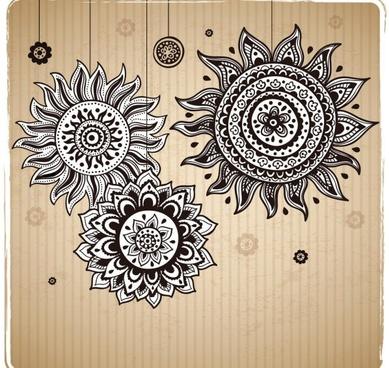 vintage sunflower pattern background vector