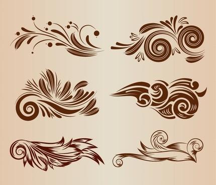 vintage swirl floral design elements vector illustration set