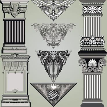 vintage symbols and decoration patterns vector set