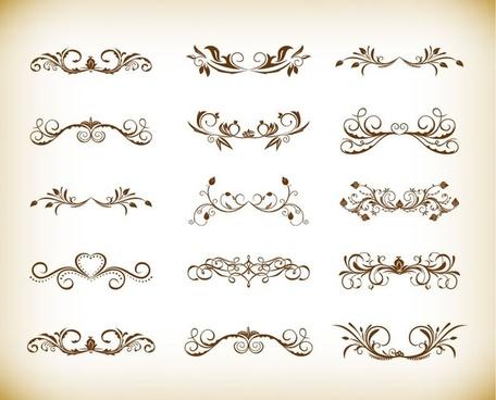 vintage symmetrical floral element vector set