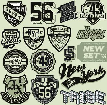 vintage t shirt labels creative vector
