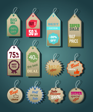 vintage tags big sale vector