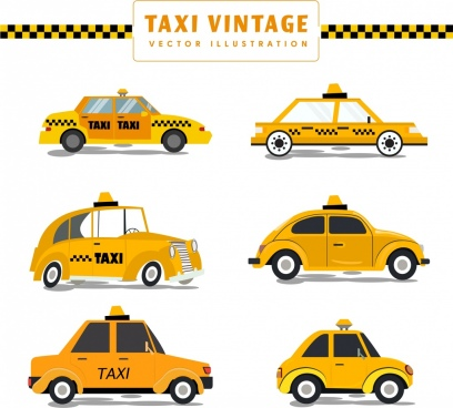 vintage taxi templates collection yellow design