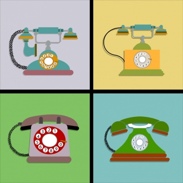 vintage telephone icons multicolored square isolation