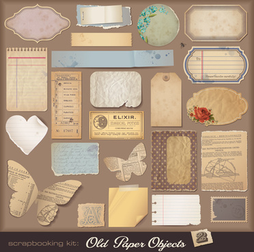 vintage torn paper elements vector