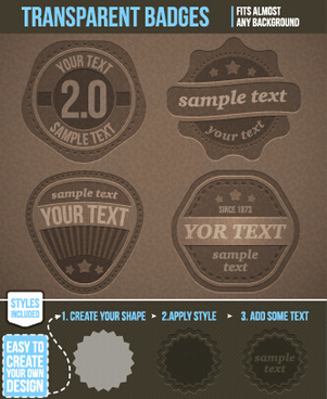 vintage transparent badges vector