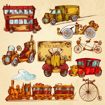 vintage travel object elenemts vector