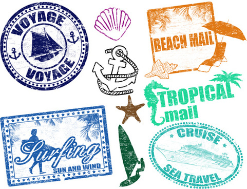 Vintage Travel Stamps Elements Vector