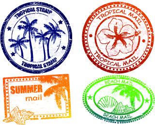 vintage travel stamps elements vector