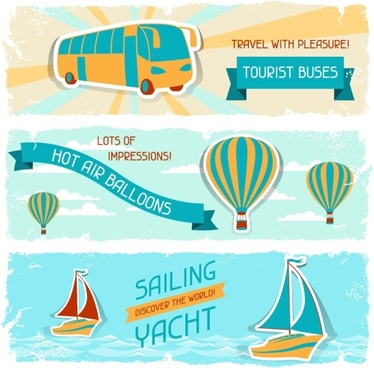 vintage travel sticker banners vector