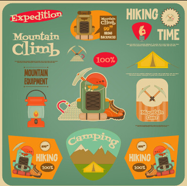vintage travel sticker with logos vectors