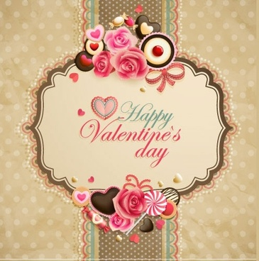 vintage valentine card heartshaped chocolate vector