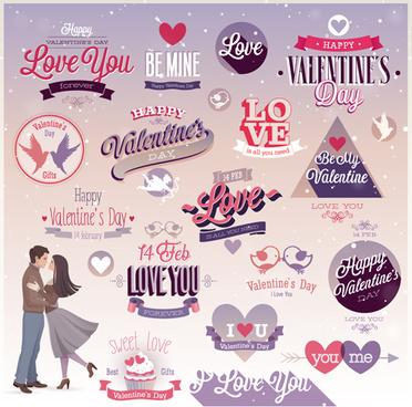 vintage valentine day ornament labels vector
