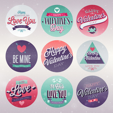 vintage valentine day ornament labels vector