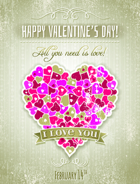 vintage valentine heart shaped vector background