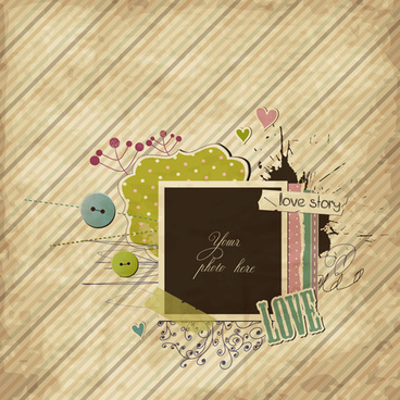 vintage valentine photo frame background vector