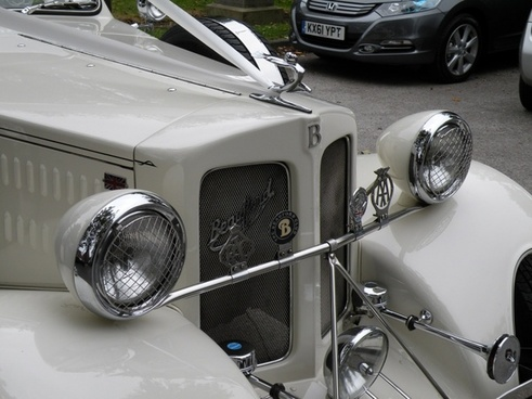 vintage wedding car closeup