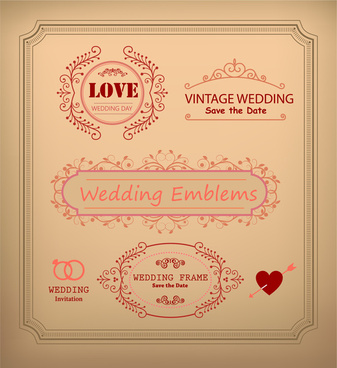 vintage wedding card decoration frames illustration