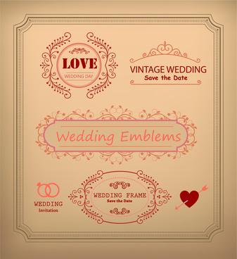 vintage wedding card decoration frames illustration